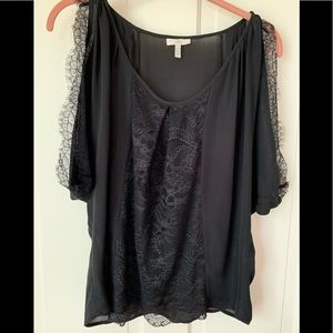 Joie romantic black silk and lace top XS